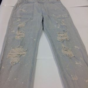 SIGNITURE 8 Jeans - NEW DISTRESSED STRIPED OVERALLS JEAN JUNIOR  BOHO